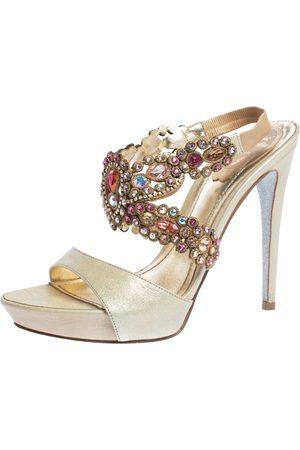 RENÉ CAOVILLA Beige Leather Crystal Embellished Platform Ankle Strap Sandals Size 37