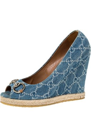 Gucci Blue GG Denim Charlotte Horsebit Peep Toe Wedge Pumps Size 38