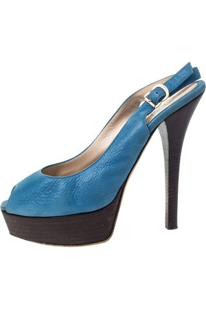 Fendi Blue Textured Leather sta Platform Slingback Sandals Size 39
