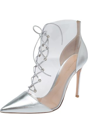 Gianvito Rossi Transparent PVC and Metallic Silver Leather Plexi Lace Ankle Boots Size 40.5