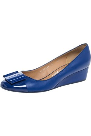 Salvatore Ferragamo Blue Leather And Patent 'Petra' Wedge Cap Toe Pumps Size 37