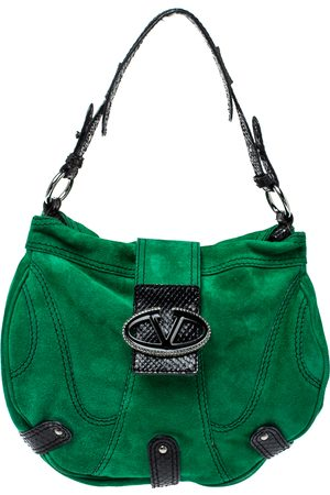 VALENTINO Green/Black Suede and Python VRing Embellished Hobo