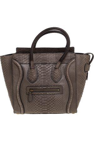 Céline Grey Python Micro Luggage Tote