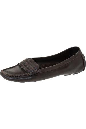 Bottega Veneta Brown Leather Intrecciato Trim Slip On Loafers Size 39