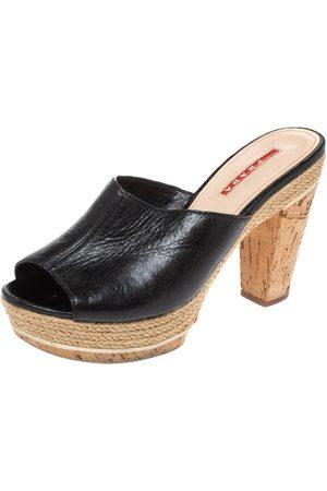 Prada Black Leather Espadrille Cork Heel Slide Platform Sandals Size 38.5