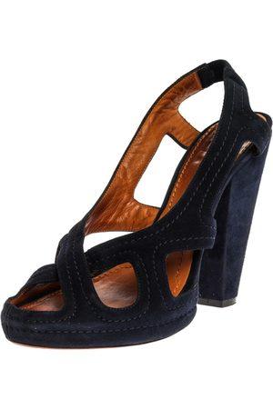 Givenchy Blue Suede Criss Cross Cut Out Slingback Platform Sandals Size 40