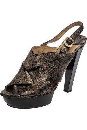 Jimmy Choo Black Shimmery Leather Platform Sandals Size 40.5