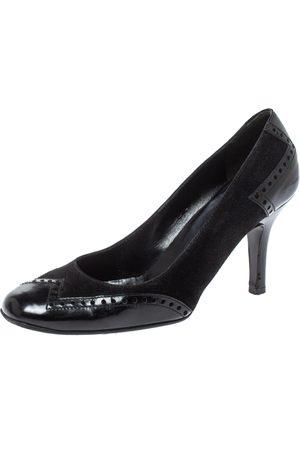 Gucci Black Brogue Leather Square Toe Pumps Size 36.5