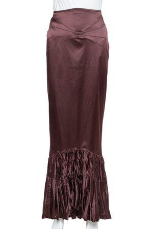 Roberto Cavalli Burgundy Satin Ruffled Fitted Maxi Skirt M