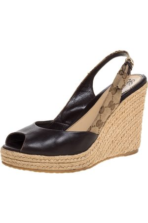 Gucci Brown Leather and GG Canvas Slingback Espadrille Wedges Size 39.5