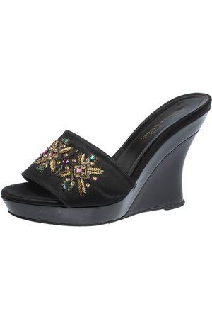 Oscar de la Renta Black Satin Embellished Wedge Open Toe Platform Sandals Size 38
