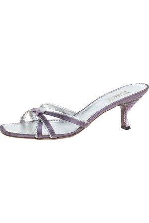 Prada Purple/Silver Leather Scallop Detail Bow Lucite Heel Slide Sandals Size 39
