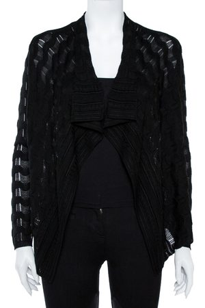 M Missoni Black Wave Knit Waterfall Collar Open Front Cardigan S