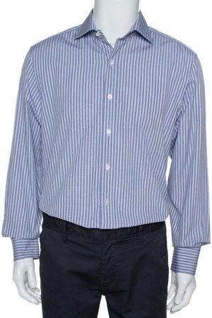 Tom Ford Navy Blue & White Striped Cotton Long Sleeve Shirt XXL