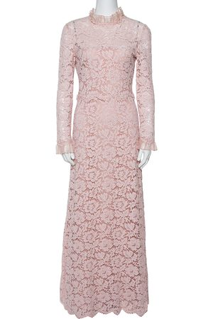 VALENTINO Light Pink Floral Lace Long Sleeve Gown M