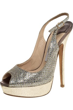 Jimmy Choo Metallic Gold Glitter Fabric And Embossed Leather Verity Peep Toe Platform Slingback Sandals Size 36
