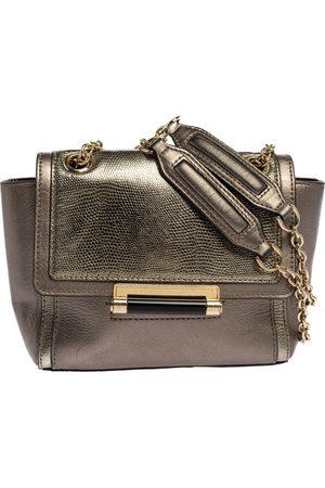 Diane von Furstenberg Metallic Grey Lizard Embossed Leather and Leather Mini 440 Shoulder Bag