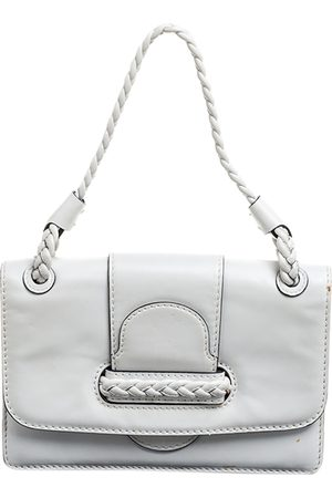 VALENTINO White Leather Braided Handle Top Handle Bag
