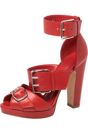 Alexander McQueen Red Leather Buckle Strappy Platform Sandals Size 37.5