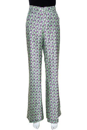 Roberto Cavalli Pastel Green Floral Printed Silk Wide Leg Trousers L