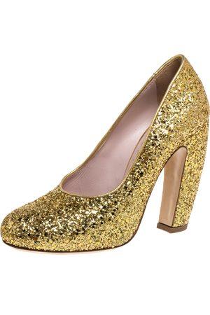 Miu Miu Gold Glitter Curved Heel Pumps Size 37