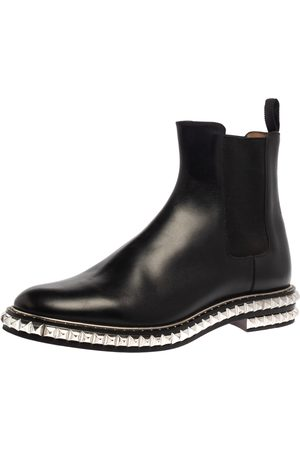 Christian Louboutin Black Leather River Studded Chelsea Ankle Boots Size 44
