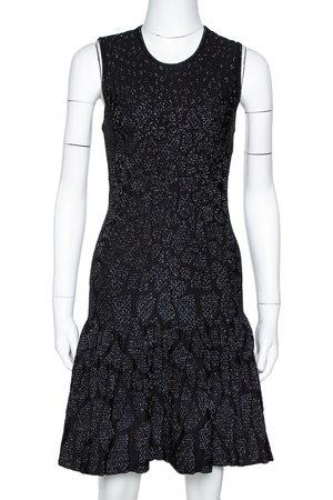 Roberto Cavalli Black Lurex Jacquard Knit Fit & Flare Dress S