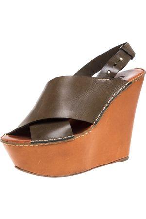 Chloé Olive Green Leather Wedge Platform Sandals Size 39