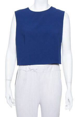 ALICE+OLIVIA Blue Crepe Sleeveless Klynn Crop Top L