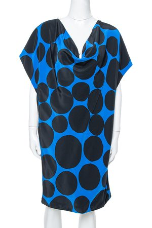 Gucci Black & Blue Dot Print Silk Draped Mini Dress M