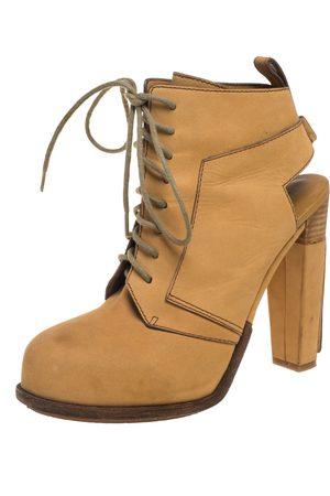 Alexander Wang Tan Nubuck Dakota Lace Up Ankle Boots Size 38