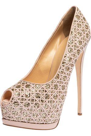 Giuseppe Zanotti Pink Sharon Glitter And Lace Liza Peep Toe Platform Pumps Size 41
