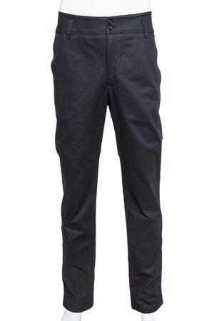 Emporio Armani Black Cotton High Waist Tailored Trousers XL