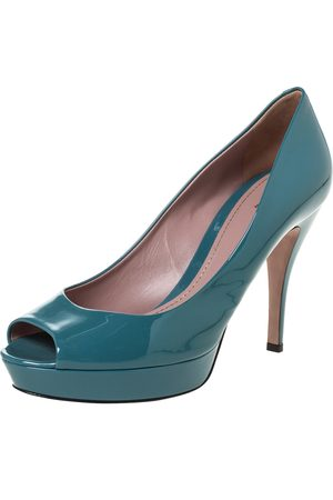 Gucci Teal Patent Leather Peep Toe Platform Pumps Size 39
