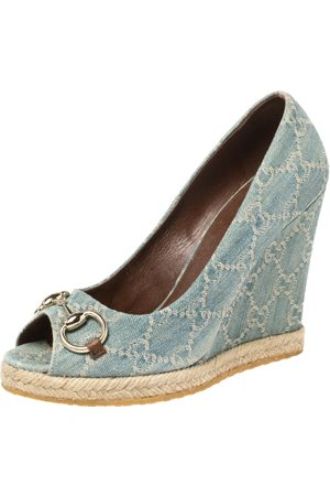 Gucci Light Blue Denim Horsebit Wedge Pumps Size 38