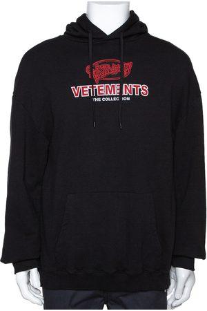 Vetements Black Cotton Graphic Print Oversized Hoodie S