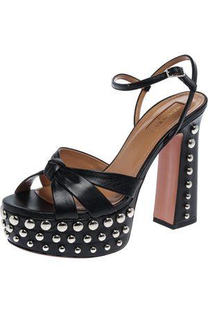 Aquazzura Aquazurra Black Leather Opera Studded Platform Sandals Size 37