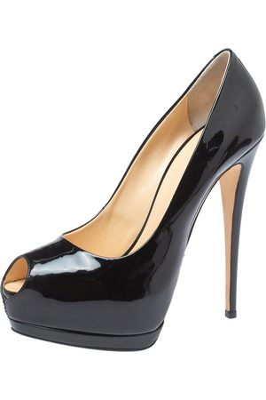 Giuseppe Zanotti Black Patent Leather Peep Toe Platform Pumps Size 41