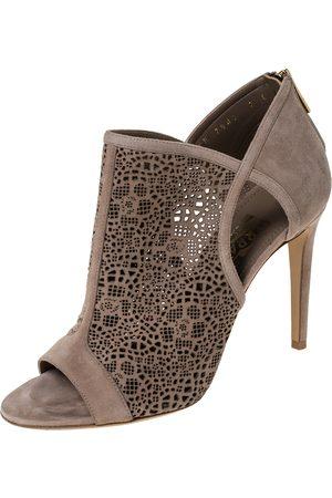 Salvatore Ferragamo Beige Suede Leather Laser Cut Open Toe Ankle Booties Size 37.5