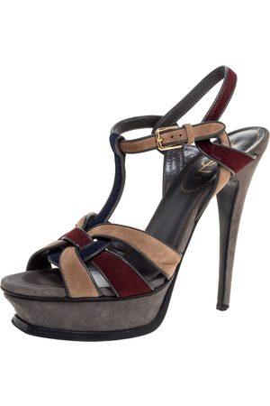 Saint Laurent Multicolor Suede Tribute Platform Sandals Size 38
