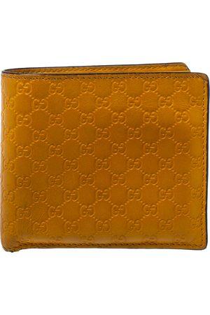 Gucci Mustard Yellow Leather Microssima Bifold Wallet