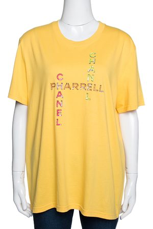 CHANEL X Pharrell Yellow Embellished Cotton Short Sleeve T-Shirt L