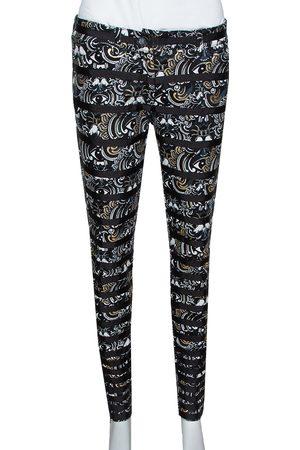 Kenzo Black & Gold Temple Eye Foil Print Cotton Skinny Jeans M