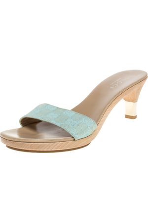 Gucci Gold/Light Blue GG Canvas Heel Slide Sandals Size 37