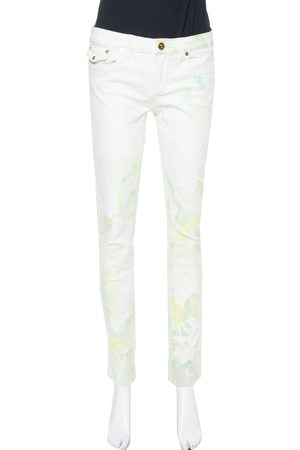 Roberto Cavalli White Floral Printed & Embossed Cotton Straight Leg Jeans M