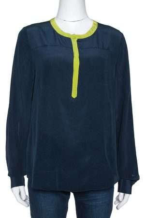 Diane von Furstenberg Naval Blue Silk Contrast Trim Maisy Blouse L