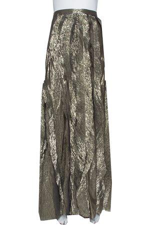 Oscar de la Renta Gold Lurex Silk Ruffled Maxi Skirt L