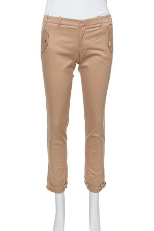 Gucci Tan Brown Stretch Cotton Cropped Trousers S