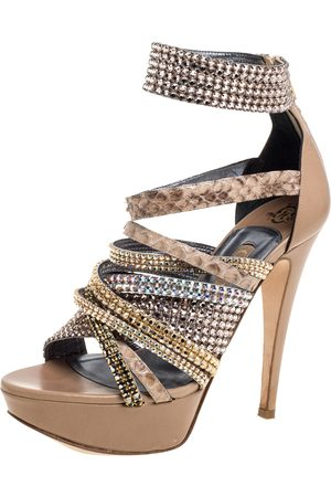 Gina Beige Leather And Python Trim Crystal Embellished Strappy Platform Ankle Cuff Sandals Size 38