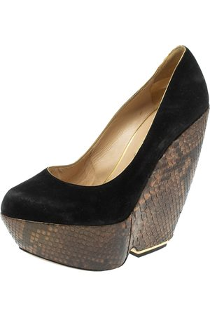 Nicholas Kirkwood Black Suede And Python Leather Wedge Platform Pumps Size 39.5